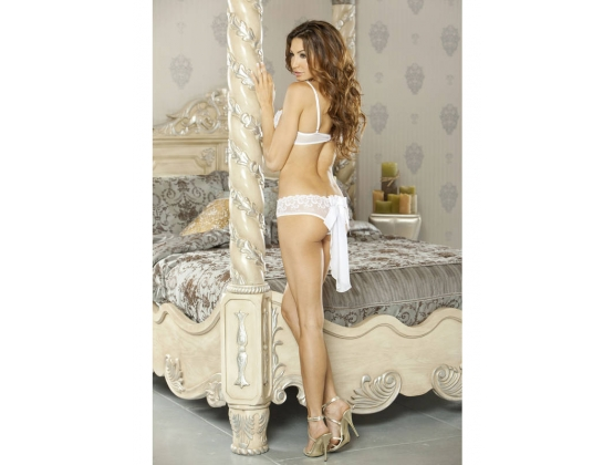 PURE Bra & Panty With Veil Detail White