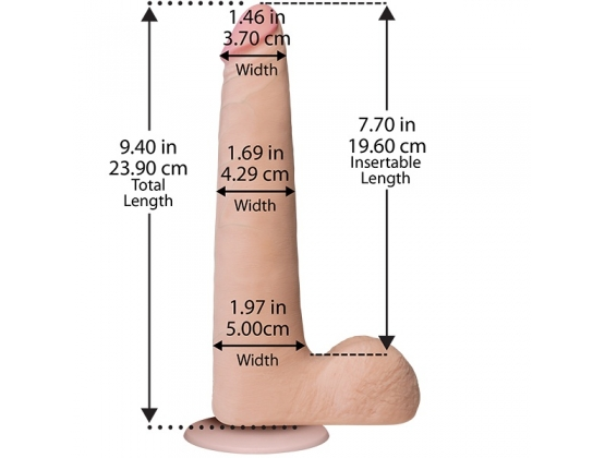 The Realistic Slim Cock with Balls UR3 Flesh 9 inch