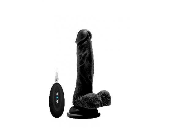 "Real Rock Vibrating 7"" Realistic Cock With Scrotum"