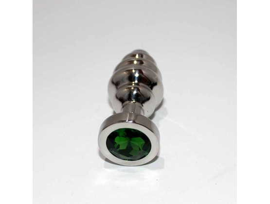 Ribbed Jewelled Small Butt Plug Emerald