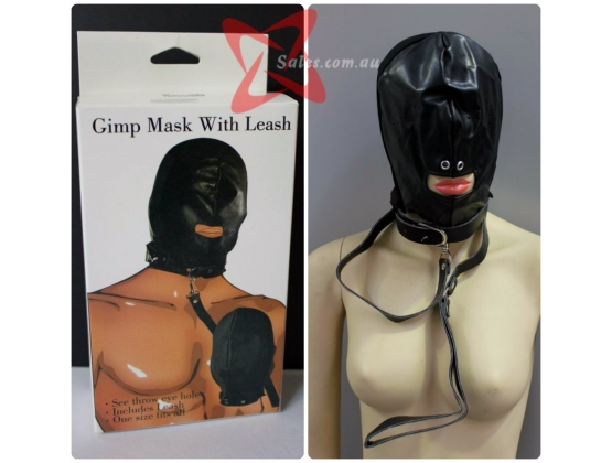 Send In The Gimp Leather Hood With Leash