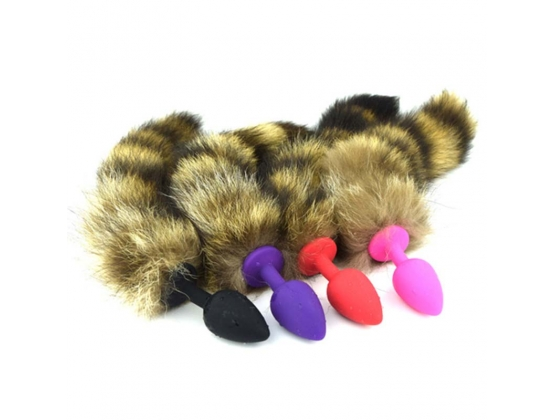Silicone Butt Plug With Fox Tail Large