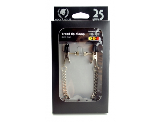 Spartacus Adjustable Broad Tip Nipple Clamps with Jewel Chain
