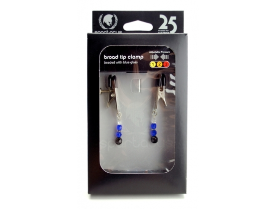 Spartacus Adjustable Broad Tip Nipple Clamps with Glass Beads