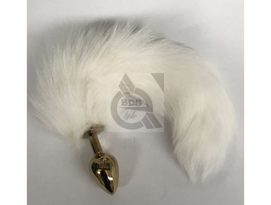 White Fox Tail Steel Anal Plug Gold