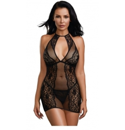 Baby Fishnet and Lace Halter Chemise with Matching G-String