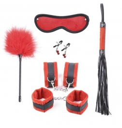 Black and Red Plushy 6 piece Bondage Kit