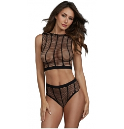 Caged Style Seamless Knit Crop Top and High-Waisted Panty