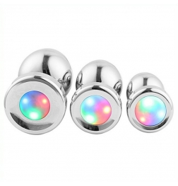 Colorful Light Stainless Steel Butt Plug