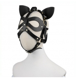 Bondage Leather Cat Mask With Ears