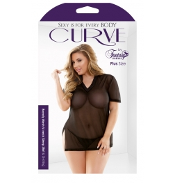 Curve Brandy Mesh Sleep Shirt And G-String