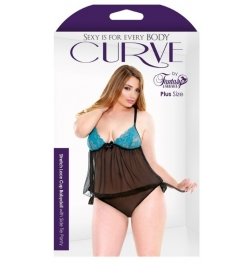 Curve Lace Cup Babydoll And Side Tie Panty