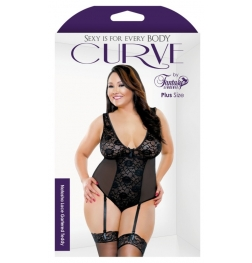 Curve Natasha Lace Gartered Teddy