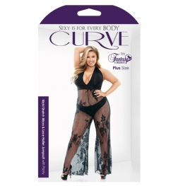 Curve Nicki Stretch Lace Halter Jumpsuit