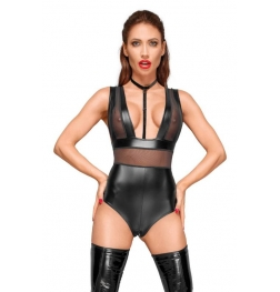 Decadence Powerwetlook Body with Tulle Inserts and Velvet Choker
