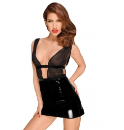 Decadence Powerwetlook Mini Dress with PVC Skirt and Chiffon Top