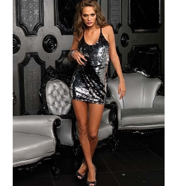Duel Color Sequin Mini Dress