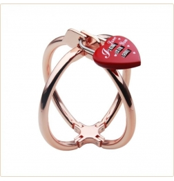 Ellipse Stainless Steel Heart Lock Cross Cuffs