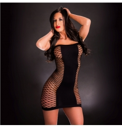 Front or Back Mesh Holes Dress Black