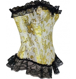 Gold and Black Floral Corset & G-String