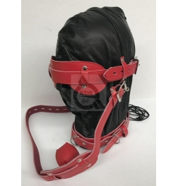 Hell Fire Slave Hood & Blindfold Faux Leather Black & Red