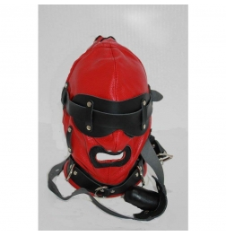 Hellish Red With Black Slave Hood & Blindfold Leather