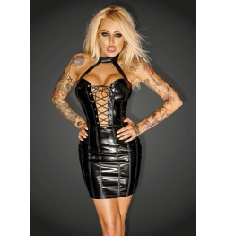 Imperious PVC Minidress with Ecoleather Trim and Fishbones