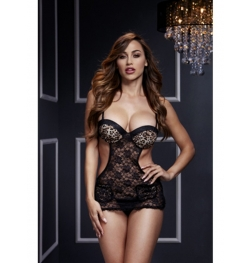 Lace Cut Out Basque no Panty Os Leopard