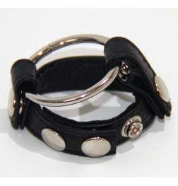 Leather Testicle & Metal Penis Rings