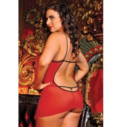 Scoop Chemise With Blindfold and Thong