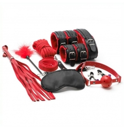Litchi Pattern 10 Pcs Plush Bondage Kit