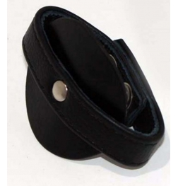 Pleasure Den Leather Cock Ring With Testicle Strap