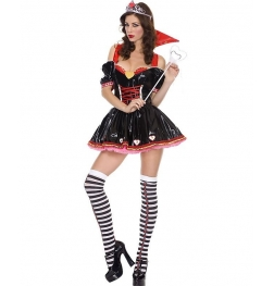 Sexy Vinyl Queen Of Hearts Adult Costume