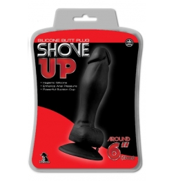 "Shove Up 6"" Silicone Dong With Suction Cup Black"