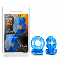Stay Hard Vibrating Cock Rings 2 Pack Blue