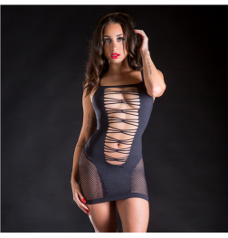 Strap Dress with Side and Back Mesh One Size