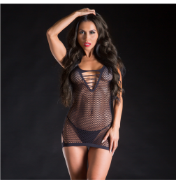 Strap Dress Mesh Front with Sexy Bare Back Black