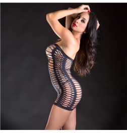 Tube Dress Exotic Mesh Design Black