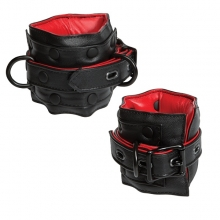 Kink Leather Submissive Accessories Ankle Restraint Black/Red